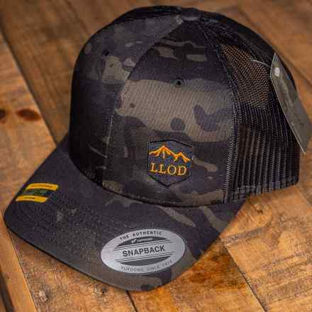 LLOD MultiCam Black Trucker Snapback - Orange Lettering
